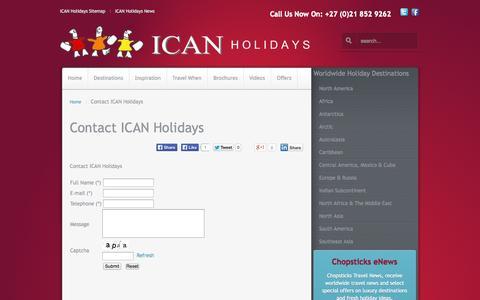 Screenshot of Contact Page icanholidays.com - Contact ICAN Holidays - captured Sept. 30, 2014