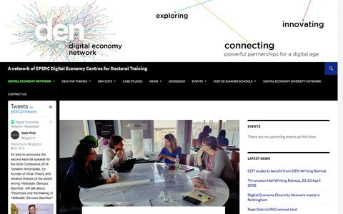 Screenshot of About Page digitaleconomynetwork.com - Digital Economy Network | A network of EPSRC Digital Economy Centres for Doctoral Training - captured July 11, 2018
