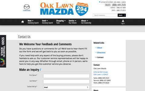 Screenshot of Contact Page oaklawnmazda.com - Oak Lawn Mazda | New Mazda dealership in Oak Lawn, IL 60453 - captured June 18, 2017