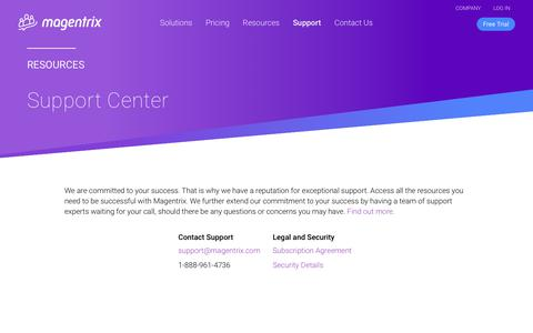 Screenshot of Support Page magentrix.com - Technical Support, Documentation and User Guides | Magentrix - captured Sept. 30, 2019