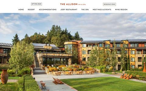 Screenshot of Home Page theallison.com - A Luxury Resort in Oregon Wine Country   The Allison Inn & Spa - captured Sept. 22, 2018