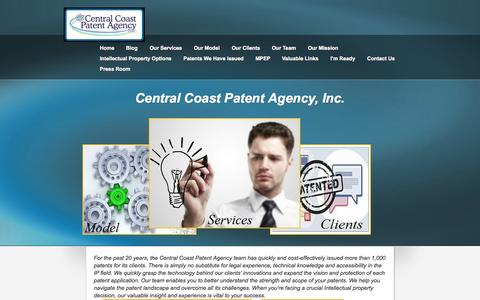 Screenshot of Home Page centralcoastpatent.com - Central Coast Patent Agency, Inc. | Central Coast Patent Agency | Proven Intellectual Property Protection - captured Oct. 1, 2014