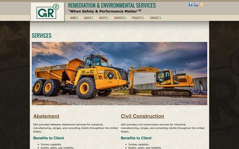 Screenshot of Services Page gr2llc.com - Services | Gr2, LLC. - Remediation & Environmental Services - captured Dec. 6, 2015