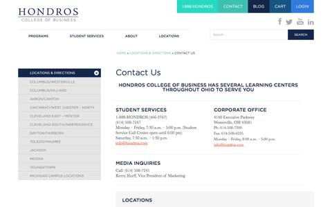 Screenshot of Contact Page Locations Page hondros.com - Hondros College of Business Contact Us - captured Nov. 12, 2016