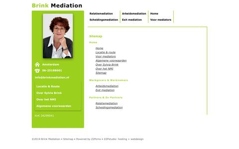 Screenshot of Site Map Page brinkmediation.nl - Sitemap | Brink Mediation - Amsterdam - captured Sept. 30, 2014
