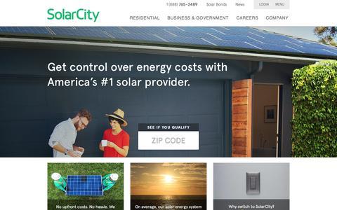 Screenshot of Home Page solarcity.com - Solar Panels, Solar Power Systems & Energy Efficiency | SolarCity - captured Oct. 15, 2015