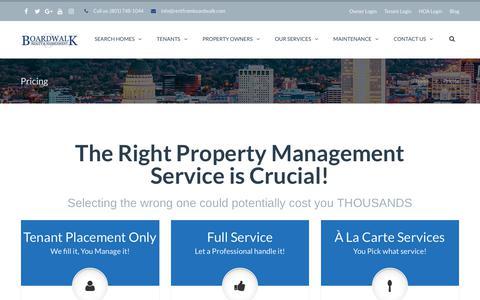 Screenshot of Pricing Page bwprentals.com - Pricing | Boardwalk Property Management - captured Oct. 6, 2018