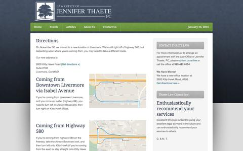Screenshot of Maps & Directions Page thaetelaw.com - Directions - captured Jan. 26, 2016