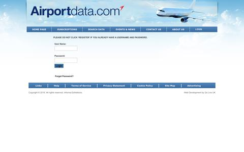 Screenshot of Login Page airportdata.com - Airportdata.com > Login - captured Sept. 22, 2018