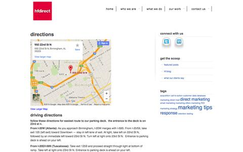 Screenshot of Maps & Directions Page hfdirect.com - Directions «  HF Direct - captured July 9, 2016