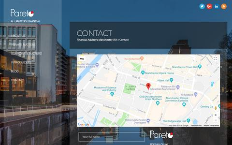 Screenshot of Contact Page paretofp.co.uk - Contact - Pareto FP - captured March 25, 2018