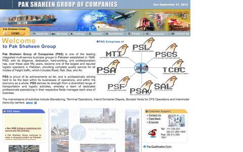 Screenshot of Home Page pakshaheen.com.pk - :: Pak Shaheen Group of Companies :: Multi-Service Business Groups in Pakistan - captured Sept. 27, 2015