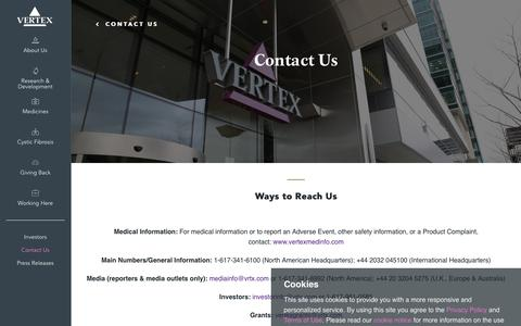 Screenshot of Contact Page vrtx.com - Contact Us | Vertex Pharmaceuticals - captured May 31, 2019