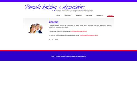 Screenshot of Contact Page pamelareising.com - Pamela Reising - captured Oct. 1, 2014