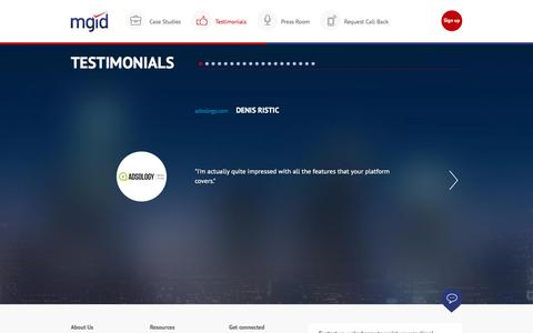 Screenshot of Testimonials Page mgid.com - MGID: Native Advertising Marketplace - captured April 6, 2017