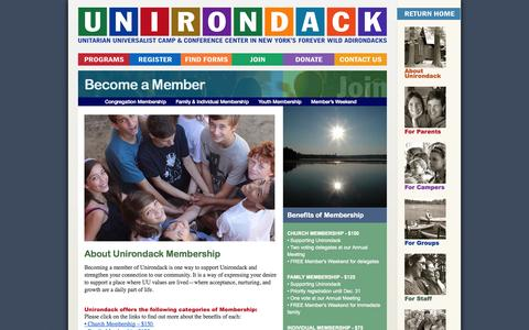 Screenshot of Signup Page unirondack.org - Become a Member | Camp Unirondack - captured Oct. 1, 2014