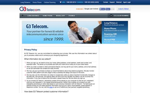 Screenshot of Privacy Page g3telecom.com - Privacy Policy | G3 Telecom - captured Sept. 22, 2014