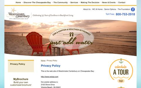 Screenshot of Privacy Page wcbay.com - Privacy Policy | Westminster-Canterbury on Chesapeake Bay - captured Oct. 20, 2017