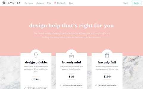 Screenshot of Pricing Page havenly.com - Design Help That's Right for You - captured Dec. 15, 2016