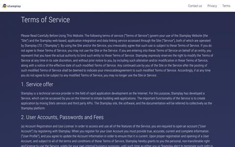 Screenshot of Terms Page stamplay.com - Stamplay | Terms of Service - captured April 12, 2019