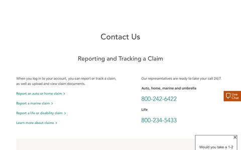 Screenshot of Contact Page amica.com - Contact Us - captured Feb. 15, 2020