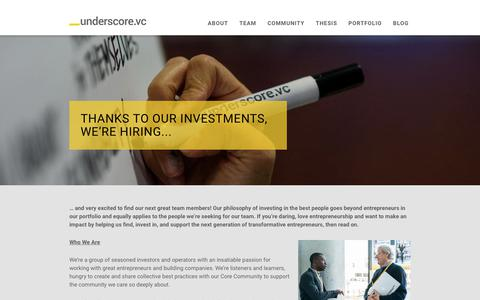 Screenshot of Jobs Page underscore.vc - Jobs at Underscore VC | Underscore VC - captured Jan. 15, 2019