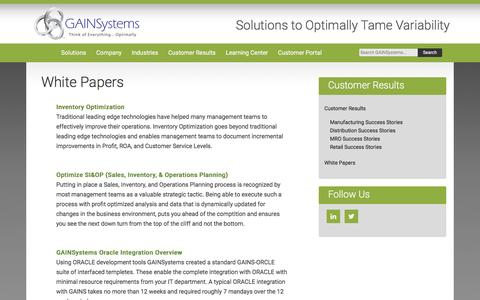 Whitepapers   GAINSystems Inc.
