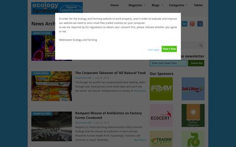 Screenshot of Press Page ecologyandfarming.com - News Archives - Ecology and Farming - captured Sept. 29, 2014
