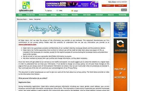 Screenshot of Privacy Page cyberastro.com - Privacy Policy- cyberastro.com - captured Nov. 2, 2014