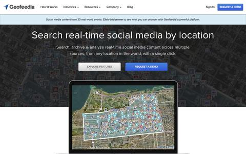 Screenshot of Home Page geofeedia.com - Geofeedia - Location-based Social Media Monitoring - captured Jan. 14, 2015