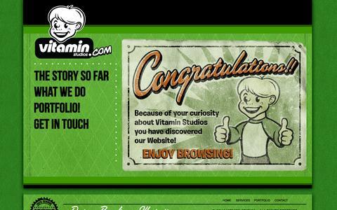 Screenshot of Home Page vitaminstudios.com - Home - captured Sept. 30, 2014