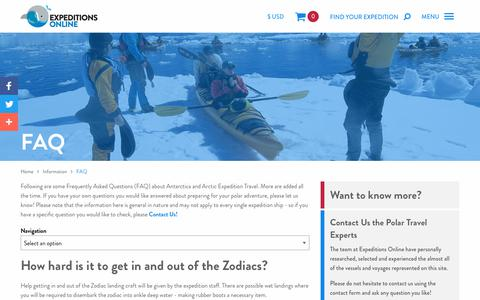 Screenshot of FAQ Page expeditionsonline.com - FAQs For People On Expedition Cruises | Expeditions Online - captured July 24, 2018