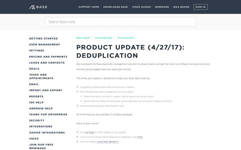 Screenshot of Support Page getbase.com - Product Update (4/27/17): Deduplication – Base Support - captured Oct. 9, 2018