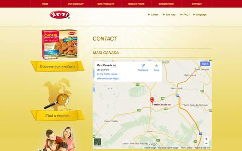 Screenshot of Contact Page Maps & Directions Page maxi.com - Contact - Maxi Canada - captured Oct. 23, 2014