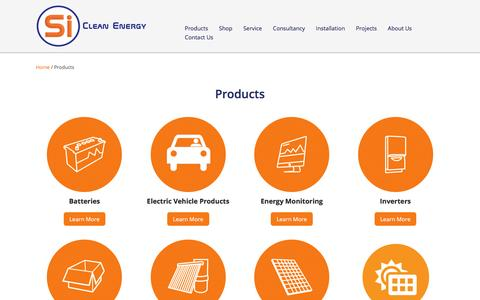 Screenshot of Products Page sicleanenergy.com.au - Products | Si Clean Energy | Solar & Renewable Energy - captured Dec. 1, 2016