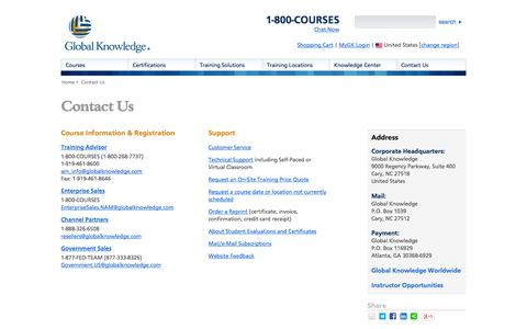Screenshot of Contact Page globalknowledge.com - Contact Us - captured Sept. 23, 2014