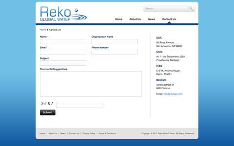 Screenshot of Contact Page rekogw.com - Contact Us | Reko Global Water - captured Sept. 17, 2014