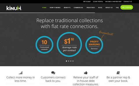 Screenshot of Home Page kinum.com - A Smarter Collection Agency | Kinum - captured Sept. 30, 2014