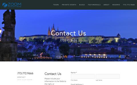 Screenshot of Contact Page zoomvacations.com - Contact — Zoom Vacations - captured Feb. 27, 2016