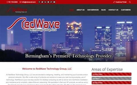 Screenshot of Home Page redwaveit.com - RedWave Technology Group, LLC | Computer and Network Support, Birmingham Alabama - captured Aug. 16, 2015