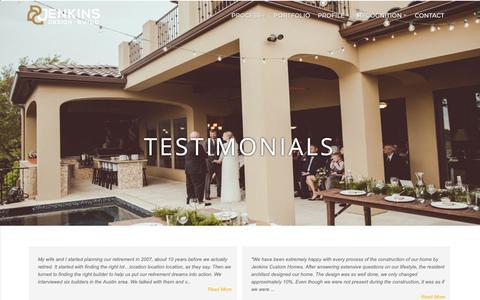 Screenshot of Testimonials Page newhousebuilder.com - Jenkins Custom Homes Testimonials - captured Oct. 13, 2018