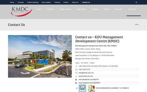 Screenshot of Contact Page kmdc.com.my - Contact us - kdu management development centre (kmdc) - captured Oct. 16, 2017