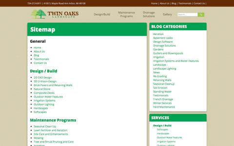 Screenshot of Site Map Page twinoakslandscape.biz - Pages Sitemap - captured July 14, 2017
