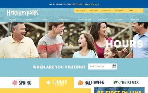 Screenshot of Hours Page hersheypark.com - Hersheypark - Hours of Operation - captured Sept. 26, 2015
