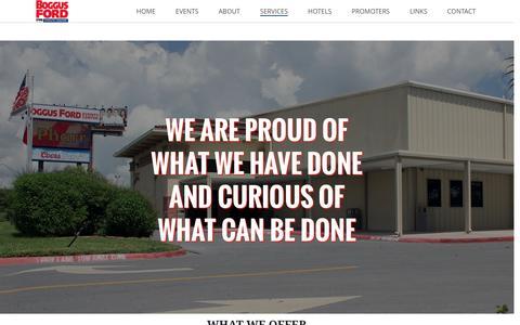 Screenshot of Services Page pharr-tx.gov - Services – Pharr Events Center - captured April 27, 2016