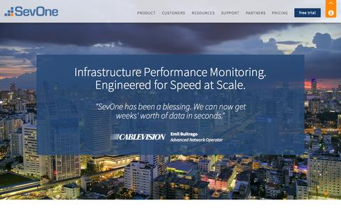 Screenshot of Home Page sevone.com - SevOne - Network Performance Management & Monitoring for Your Entire Infrastructure - captured Jan. 26, 2015