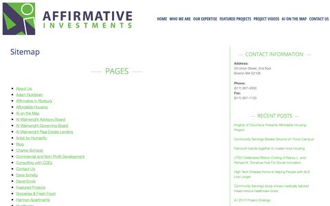 Screenshot of Site Map Page affirmativeinvestments.com - Affirmative Investments | Sitemap - captured Oct. 3, 2018