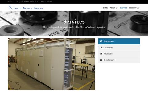 Screenshot of Services Page etakzn.com - Services  |  ETA - captured Jan. 27, 2016