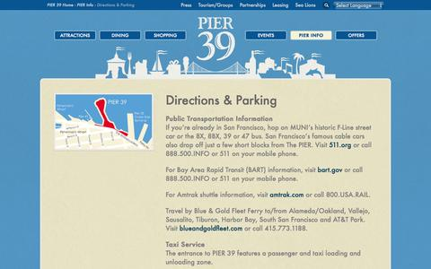 Screenshot of Maps & Directions Page pier39.com - PIER 39 Parking & Directions - Directions to and Parking for PIER 39 - captured Sept. 19, 2014