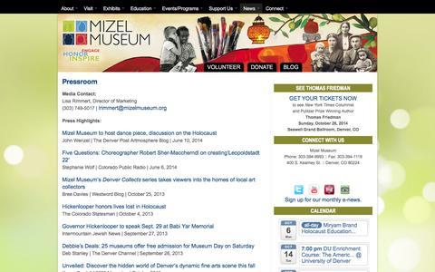 Screenshot of Press Page mizelmuseum.org - Pressroom » Mizel Museum - captured Oct. 6, 2014
